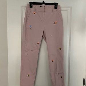 J Crew Dusty Rose Floral Chinos